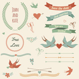 Vector wedding set with birds, hearts, arrows, ribbons, wreaths,