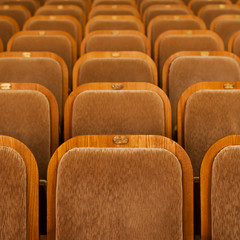 Rows of seats in theater in the background