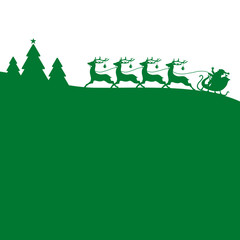 Christmas Sleigh Forest Green