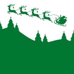 Christmas Sleigh 4 Reindeers Green