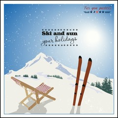 ski and Empty sun-lounger at mountains in winter