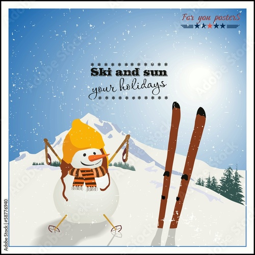 Snowman with skis  on background of winter mountains