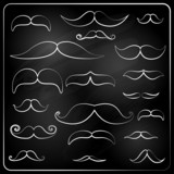 set of moustaches drawn with chalk.