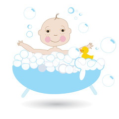 Happy cute baby in the bath vector