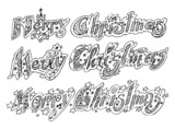 MERRY CHRISTMAS ornate doodle words