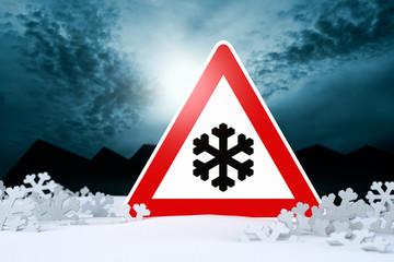 winter night driving - warning sign