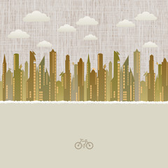 Cityscape with cloudscape paper background