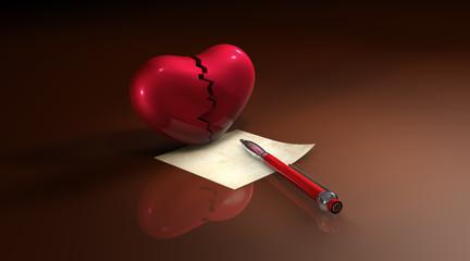 Gebrochenes Herz - Brief - Kuli