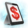 Currency concept: Dollar on tablet pc computer