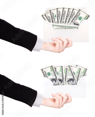 Businessman Hand and money in envelope