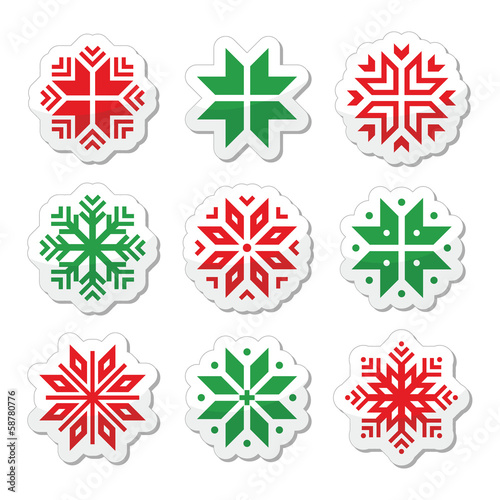 Christmas, winter snowflakes vector icons set