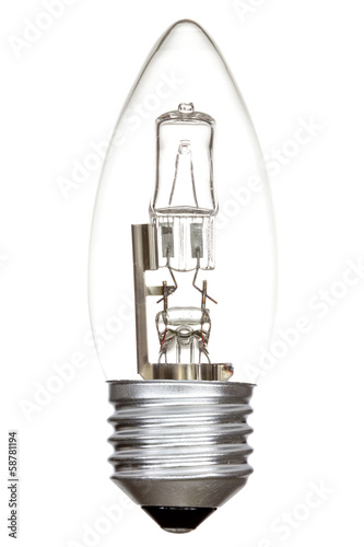 Halogen lightbulb on white