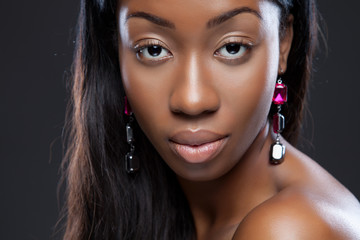 Young black beauty close-up
