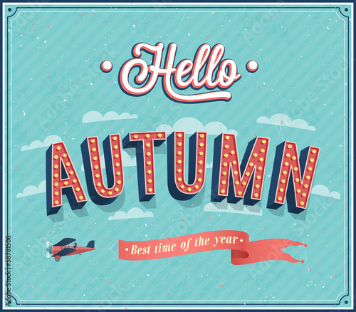 Hello autumn typographic design.
