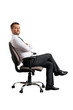 man sitting on office chair and looking at camera