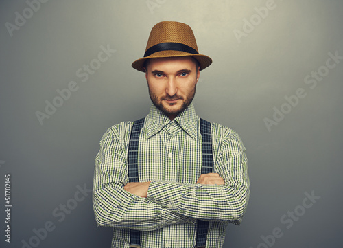 man in checked shirt