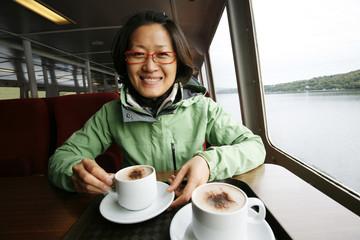 Woman on a tour boat, Lake District
