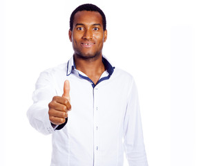 Handsome black man thumbs up, isolated on white background