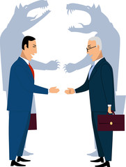 Deceiving businessmen shaking hands