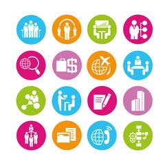 business management icons set, color buttons