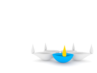 3d diwali diya of five