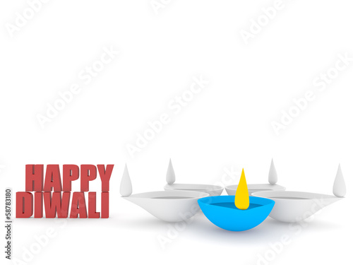 3d happy diwali text with group of diya
