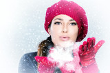 Beauty Winter Woman Blowing Snow