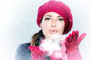 Beauty Winter Woman Blowing Snow