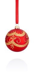 Red decorations Christmas ball hanging on ribbon Isolated on whi
