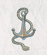 Vector illustration of anchor on the old paper