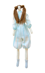 Handmade doll isolated in a pantsuit with two ponytails