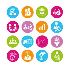 business management and human resource icons set, color buttons