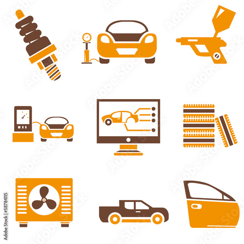 car service icons, orange color theme