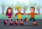 three teenagers on the roller skates