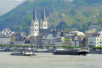 Boats near the town of Boppard. Rhine Valley is UNESCO WH Site
