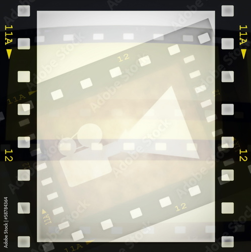 film strip frame and movie projector
