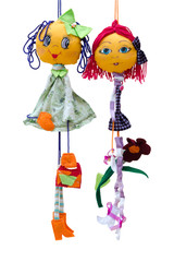 Handmade dolls toys isolated thin cheerful girls in short fashio