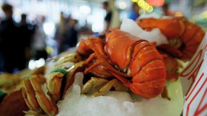 Fresh lobster Pikes Fish Market  Seattle, USA