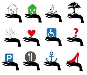 serie di illustrazioni con mano che sorregge dei simboli