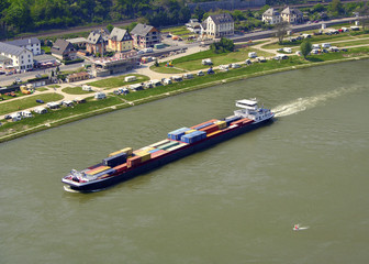 Container ship on the Rhine River, UNESCO WH, Germany