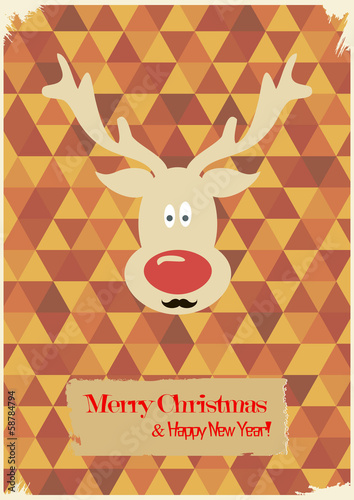 Illustration of Christmas funny deer with a mustache