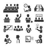 human resource and business management icons set