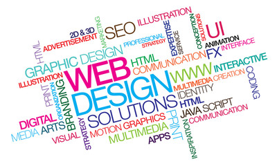 Web design colored word tag cloud template illustration