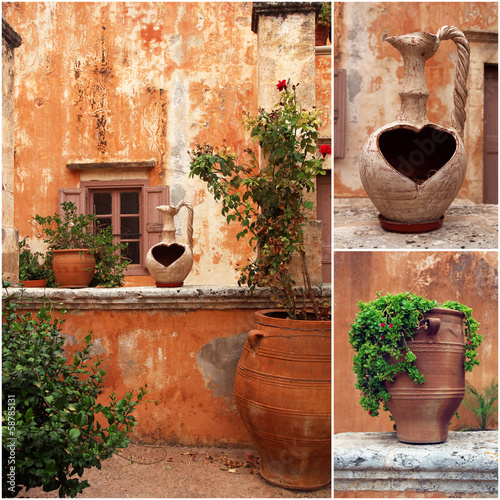 set of photos from ancient greek courtyard