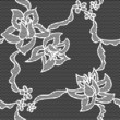 Black lace vector fabric seamless  pattern with roses