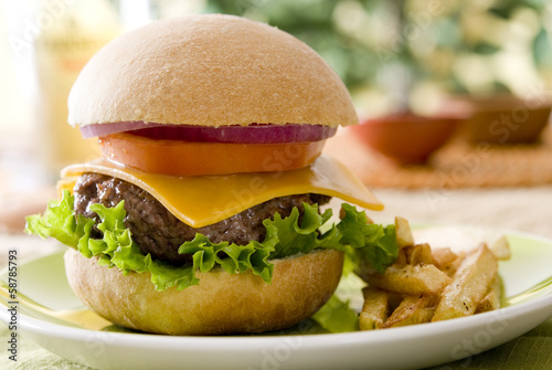 Closeup of a burger with fries.