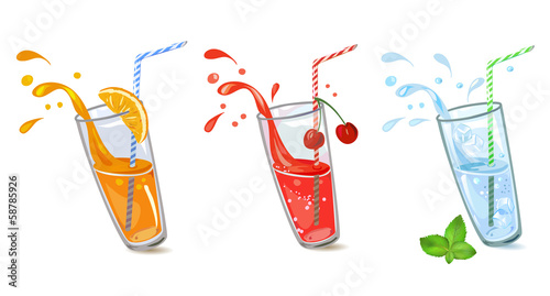 Set of refreshing drinks