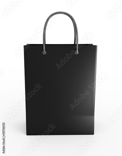 Shopping bag black. Front view.