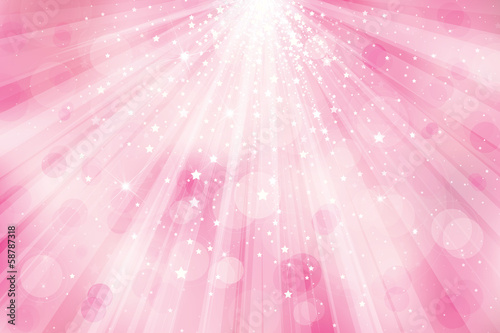 Vector glitter pink  background with rays of lights and stars.
