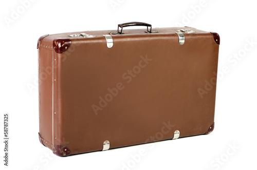 canvas print picture alter Koffer schräg vor weißem Hintergrund